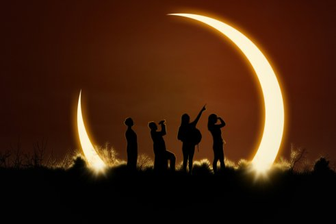 People watching solar eclipse