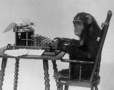 WTE3 Column #78 Illustration -- Chimp at Typewriter